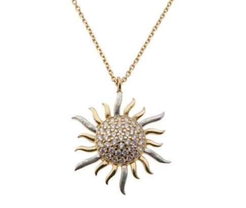 Rose gouden collier en zirkonia zonnehanger