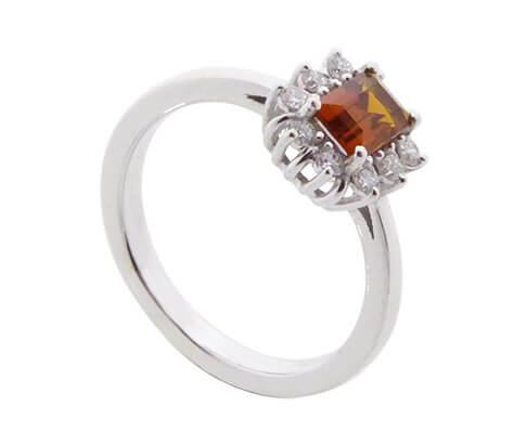 Wit gouden diamanten ring met citrien