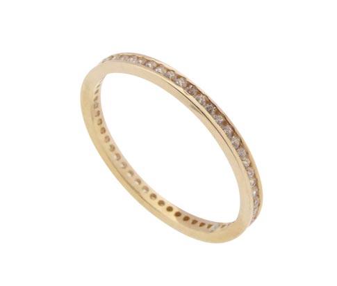 14 karaat rosé gouden ring met zirkonia