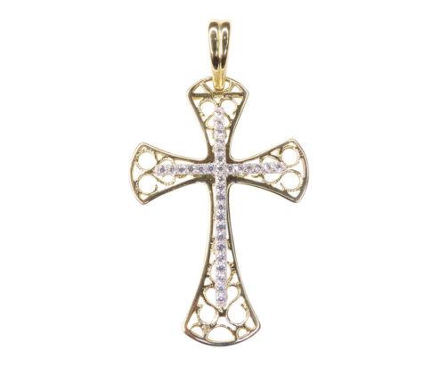 Bicolor gouden kruis met zirkonia
