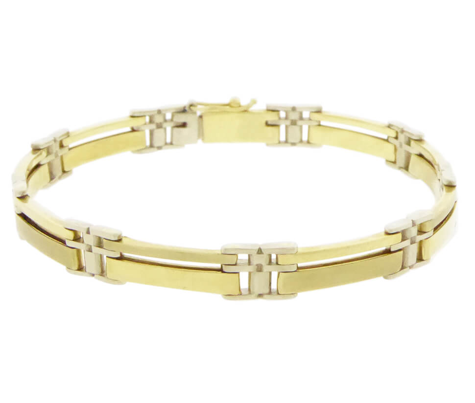 Christian bicolor gouden schakelarmband