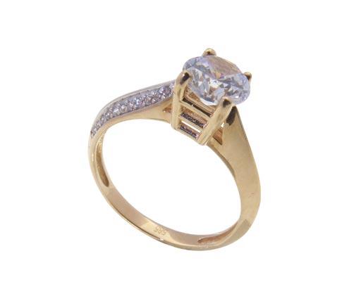 Rosé gouden solitaire ring met Swarovski zirconia