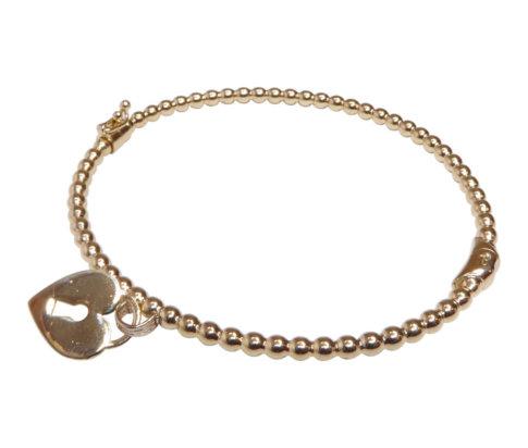 Geel gouden armband met harten hanger