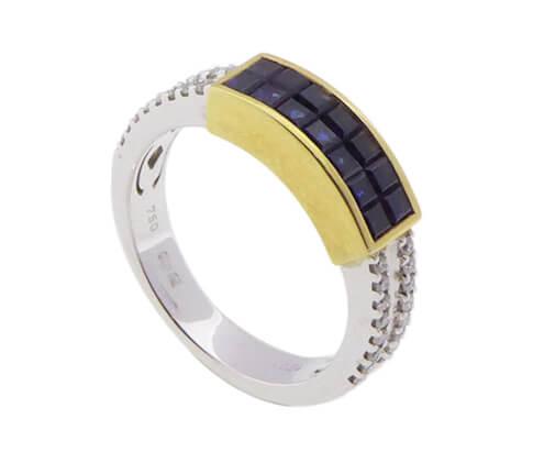 Gouden Christian ring met saffier en diamant
