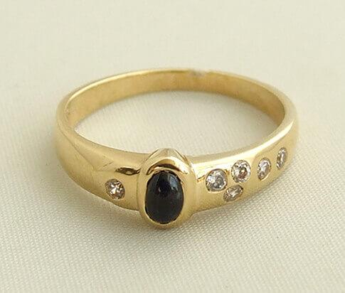 Occasion saffier en diamanten ring