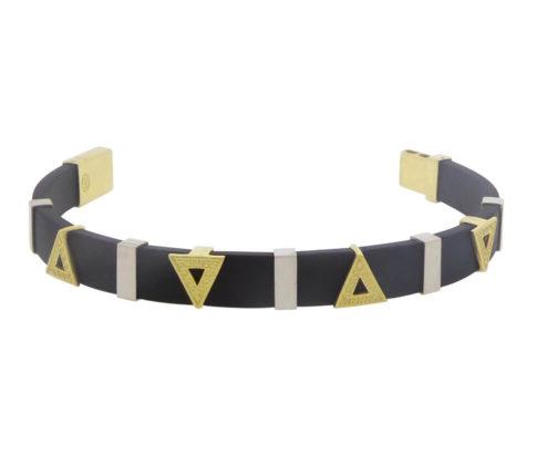 Rubberen en bicolor gouden armband