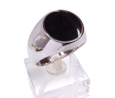 Zilveren onyx ring