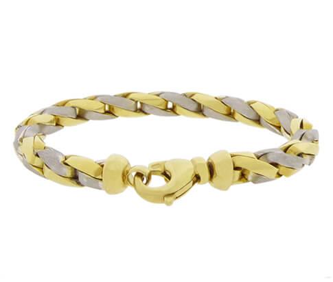 Christian armband bicolor goud