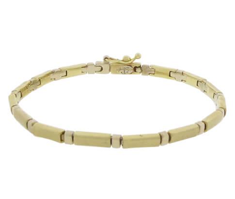 Christian gouden schakelarmband bicolor