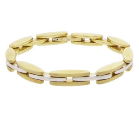 Dubbelzijdige bicolor gouden scharnierarmband