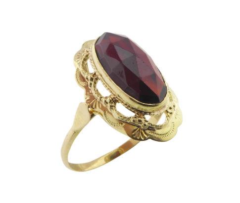 Occasion geel gouden granaat ring