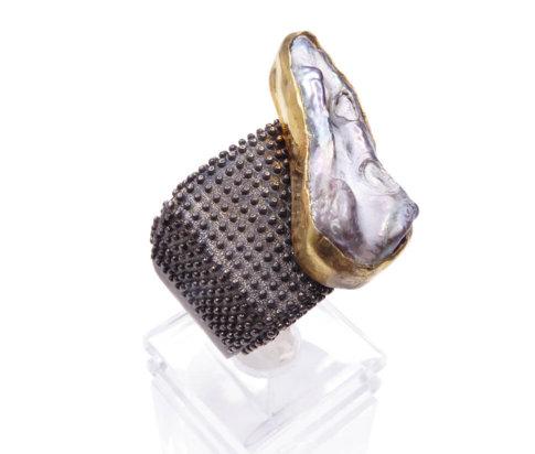 Zilveren ring met parelmoer