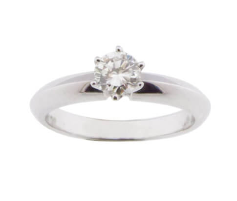 Wit gouden ring met solitair briljant geslepen diamant