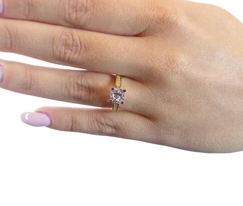 14 karaats bicolor ring met zirkonia