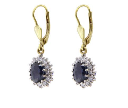 Bicolor saffieren en diamanten oorbellen