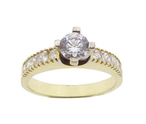 14 karaats bicolor gouden zirkonia ring