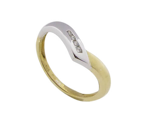 Bicolor slag ring met briljanten