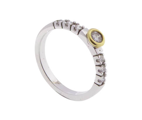 Christian bicolor gouden ring met diamanten