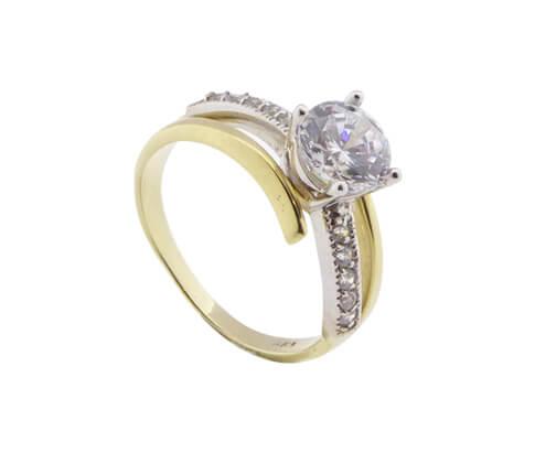 Christian bicolor gouden twist ring met zirkonia