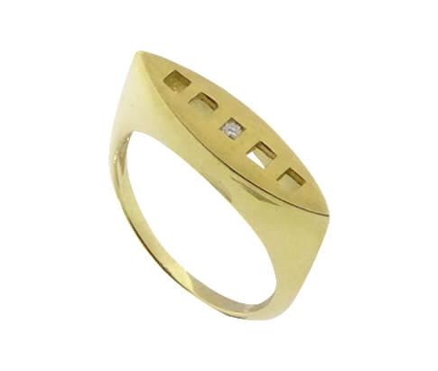 Christian geel gouden ring met 1 diamant