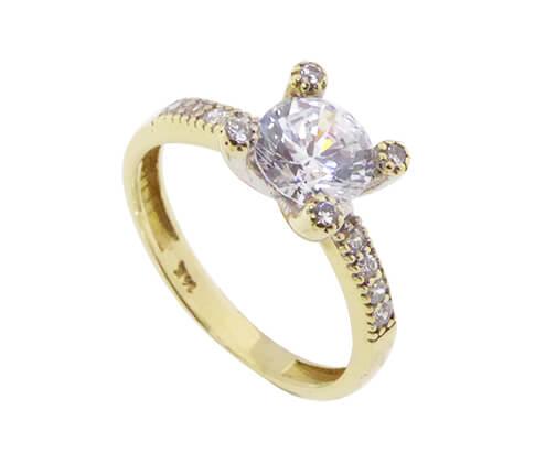 Christian geel gouden vierpoots zirkonia ring