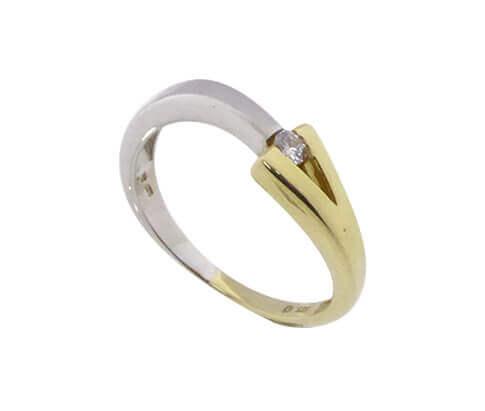 Christian geel wit gouden ring met 1 briljant