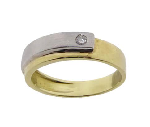 Christian gouden bicolor ring met briljant