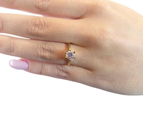 Christian gouden ring solitair met zirkonia