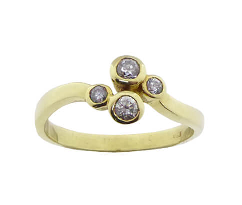 Christian ring met 4 zirkonia