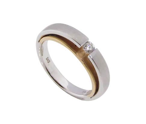 Christian wit en rosé gouden ring met diamant
