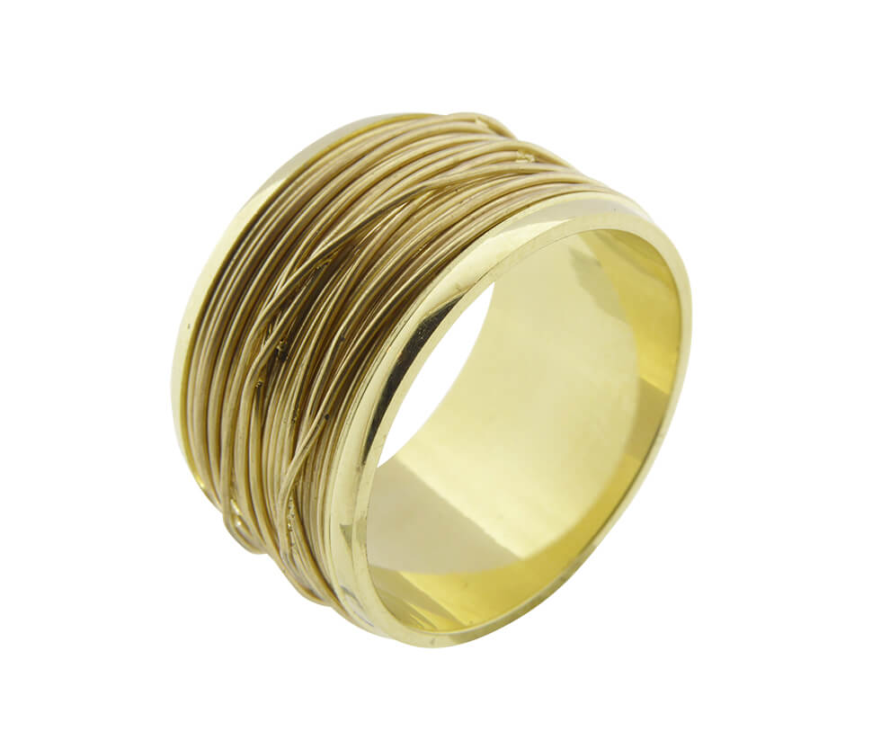 Geel gouden gevlochten draad ring