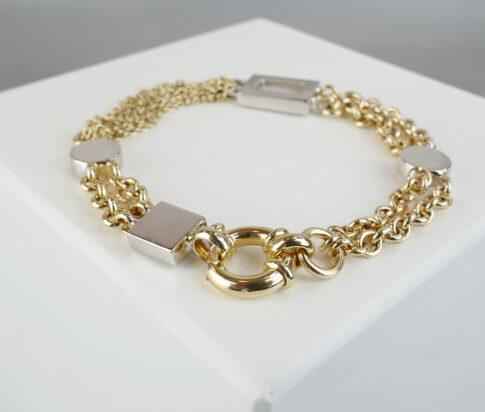 Bicolor gouden Christian armband