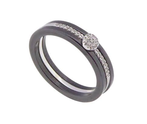 Gouden keramiek ring met diamant