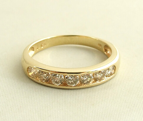 Occasion geel gouden diamanten ring