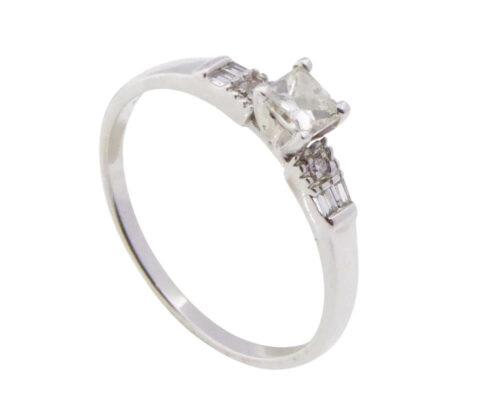 14 karaat wit gouden ring met citrien diamanten