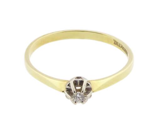 Bicolor gouden ring rozet zetting