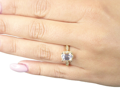 Geel gouden Swarovski zirconia ring