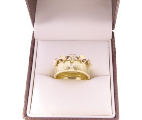 Geel gouden bloem model ring