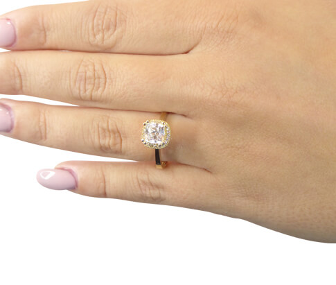 Geel gouden entourage ring met zirconia