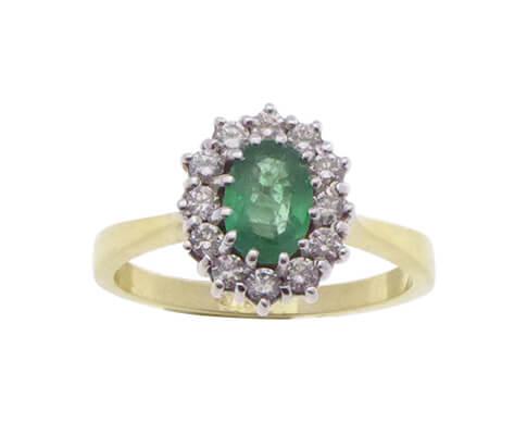 Geel gouden ring met smaragd en diamanten