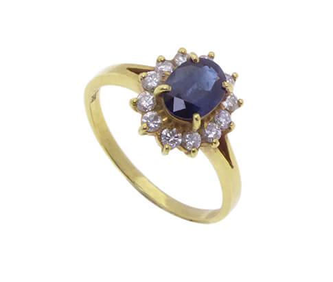 Geel gouden saffieren ring met diamanten