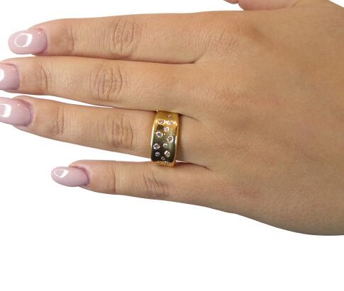 Geel gouden zirkonia fantasie ring