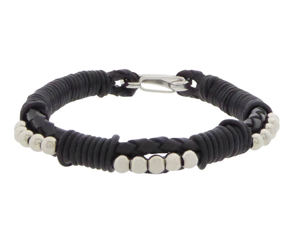Christian Black Leather Bracelet