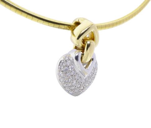 Christian wit gouden harten diamanten hanger