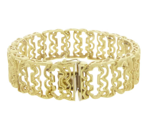 Geel gouden fantasie schakelarmband