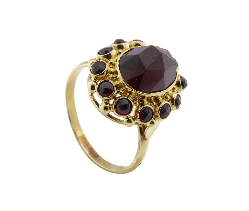 Geel gouden granaat ring