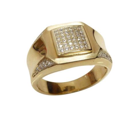 Geel gouden zirkonia cachet ring