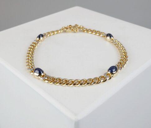Gouden armband met diamant en saffier