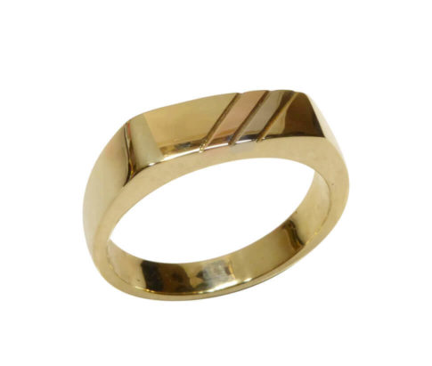 Tricolor gouden cachet ring