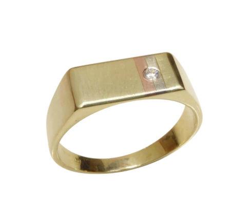Tricolor gouden cachet ring met diamant